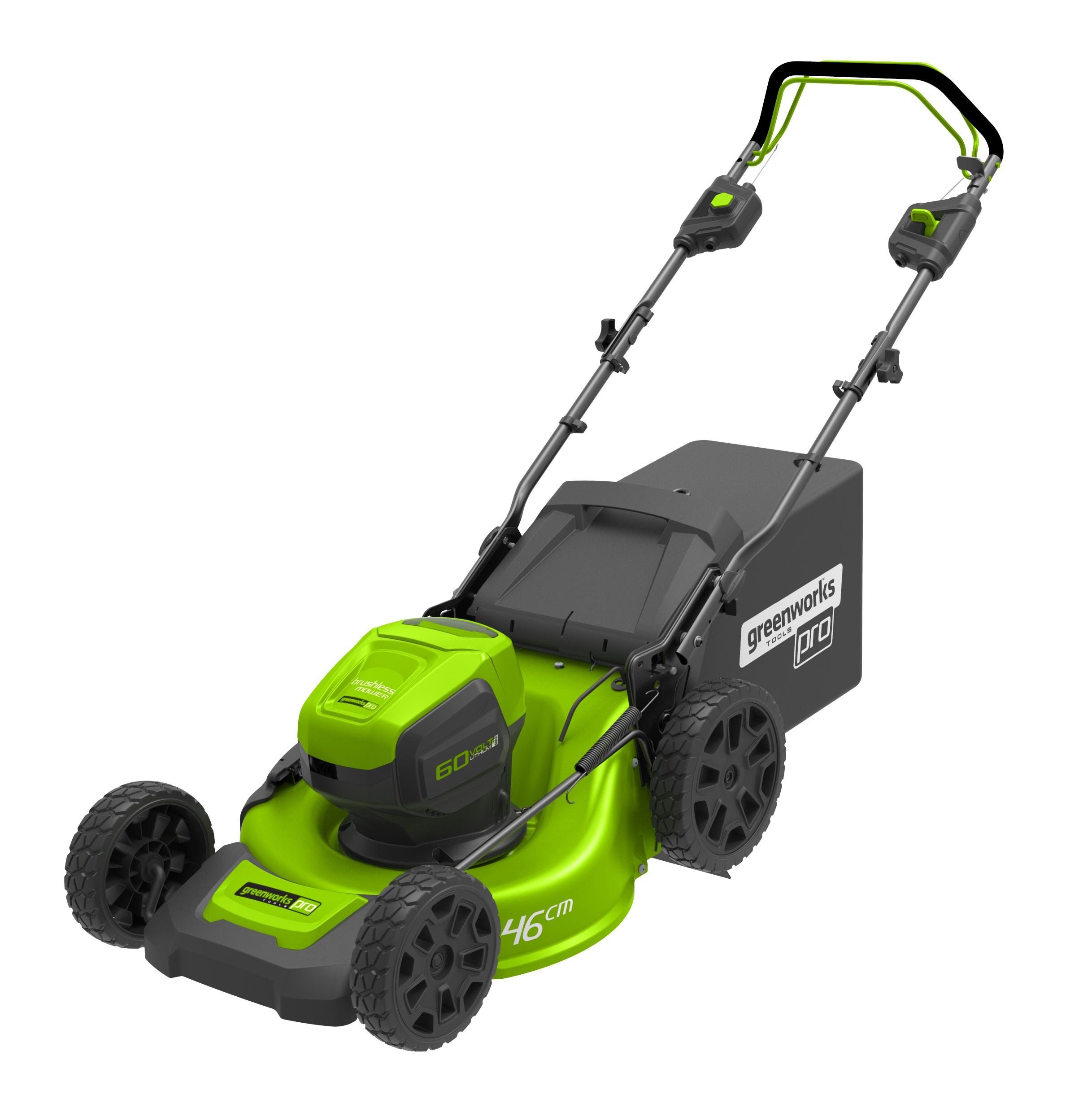 60 V aku trávna kosačka 46 cm 3 v 1 s indukčním motorom a pojazdom Greenworks GD60LM46SP