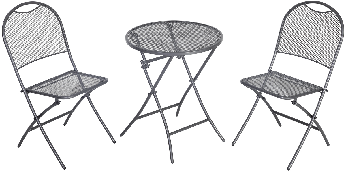 balkonový set 2x židle (55 x 46 x 89 cm) + 1x kulatý stůl (pr. 60 cm) MWH Caffé Latte