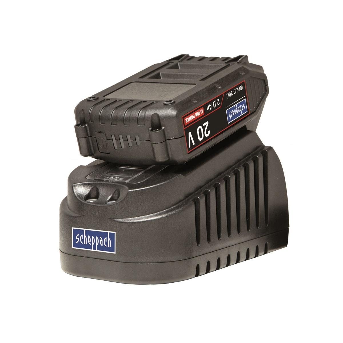 20 V set nabíječky 1,65 A a baterie 2 Ah Scheppach ABP2.0-20Li KIT A