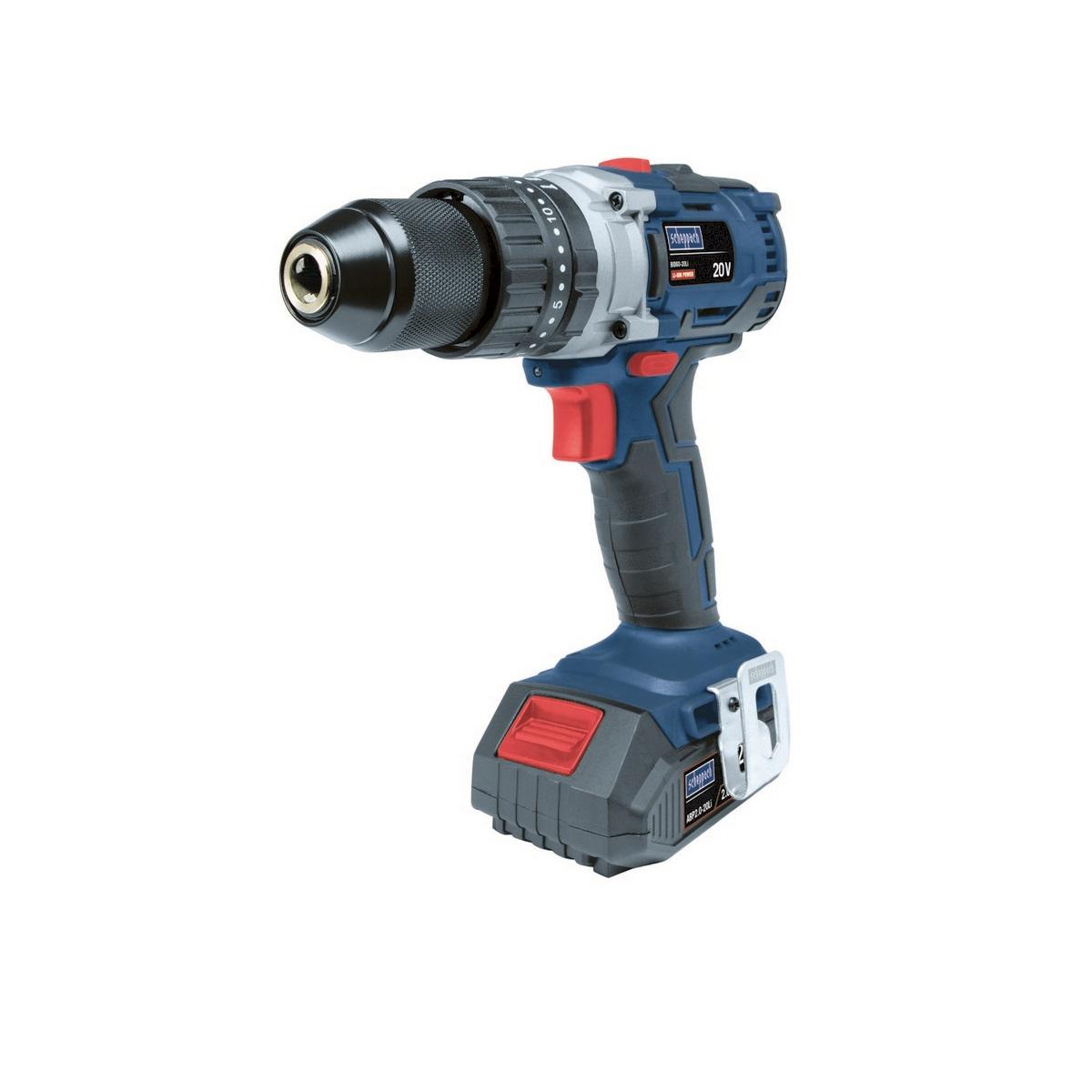 Scheppach BID60-20Liaku 20 V bezuhlíkový příklepový vrtací šroubovák + 2x baterie 2 Ah + nabíječka + kufr