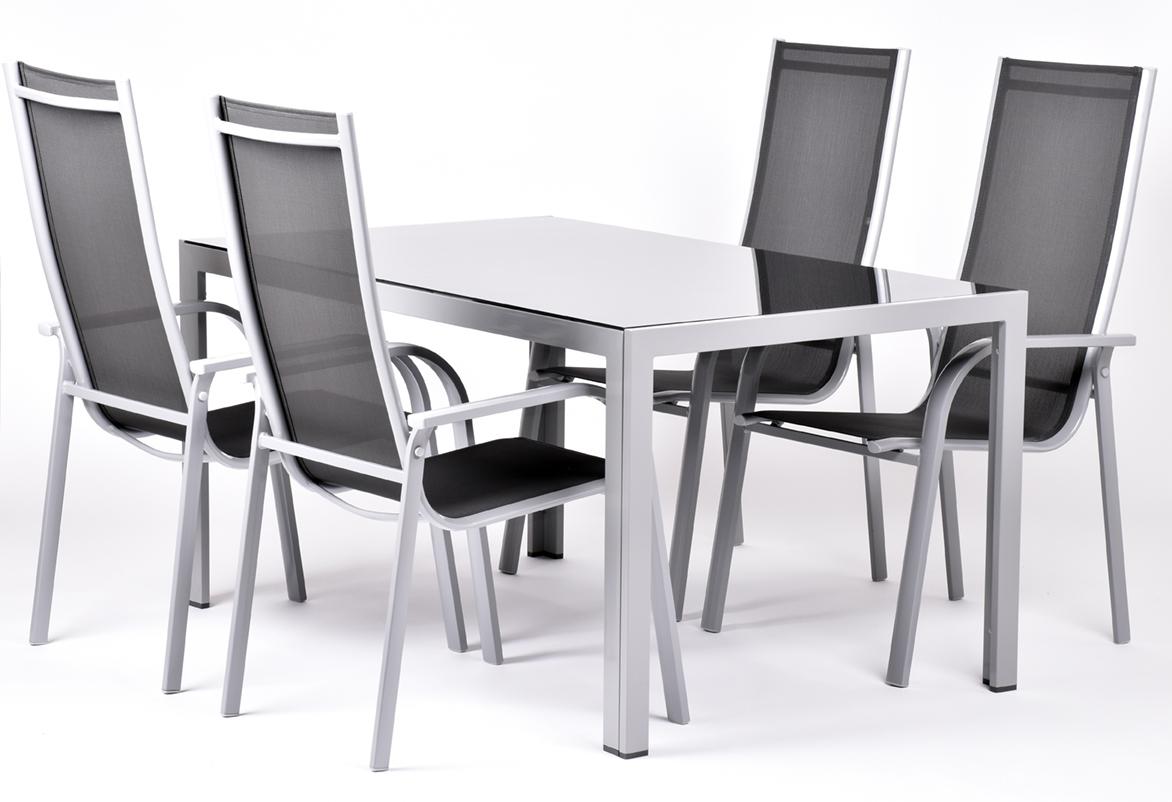sestava nábytku z hliníku (1x stůl Ryan + 4x židle Paola Standard) Garland Edina 4+