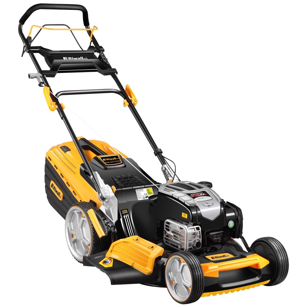 multifunkčna trávna kosačka 4 v 1 s benzínovým motorom a pojazdom Riwall PRO RPM 5337 B Pro