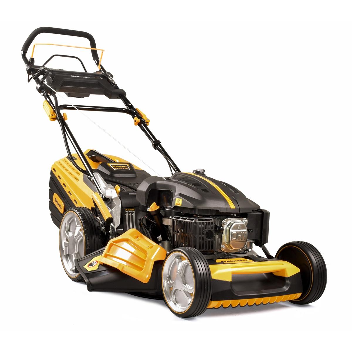 multifunkčna trávna kosačka 4 v 1 s benzínovým motorom, pojazdom a elektroštartom Riwall PRO RPM 4835 E Pro