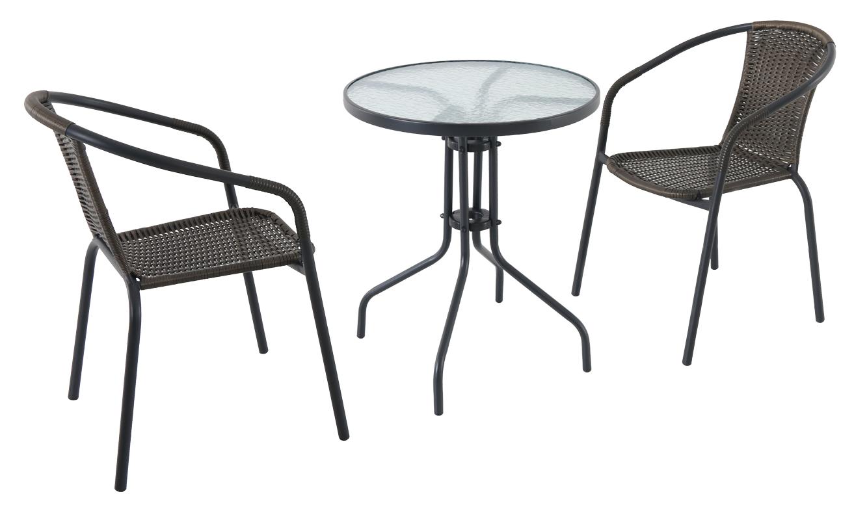 kovový kruhový stůl se dvěma stohovatelnými židlemi Creador Pikolo set