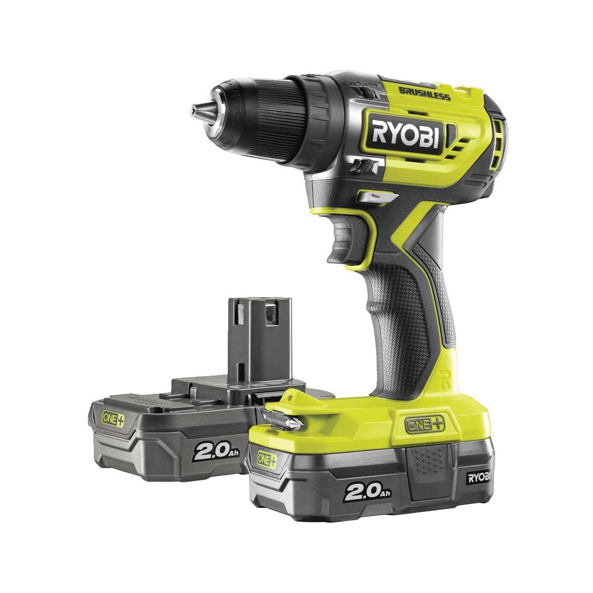 Ryobi R18DD5-220Saku bezuhlíkový 18 V šroubovák/vrtačka + 2x 2Ah baterie + nabíječka ONE+