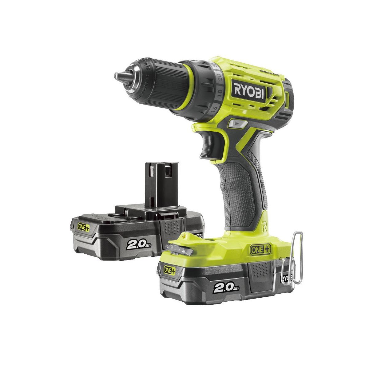 Ryobi R18DD7-220Saku bezuhlíkový 18 V šroubovák/vrtačka + 2x 2Ah baterie + nabíječka ONE+