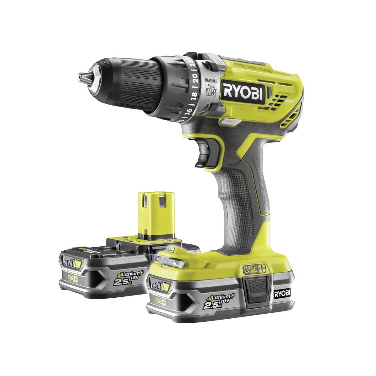 Ryobi R18PD3-225Saku 18 V vrtačka + 2x baterie 2,5 Ah + nabíječka ONE+