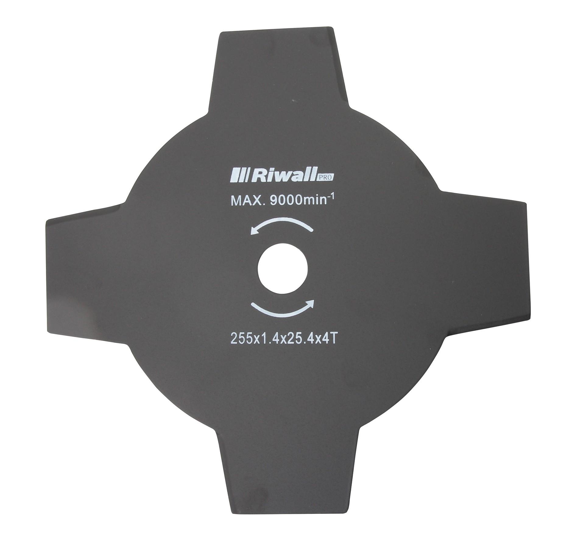 Riwall PRO Štvorzubý žací nôž krovinorezu pr. 255mm, vnútorný priemer 25,4mm, hrúbka 2,5mm