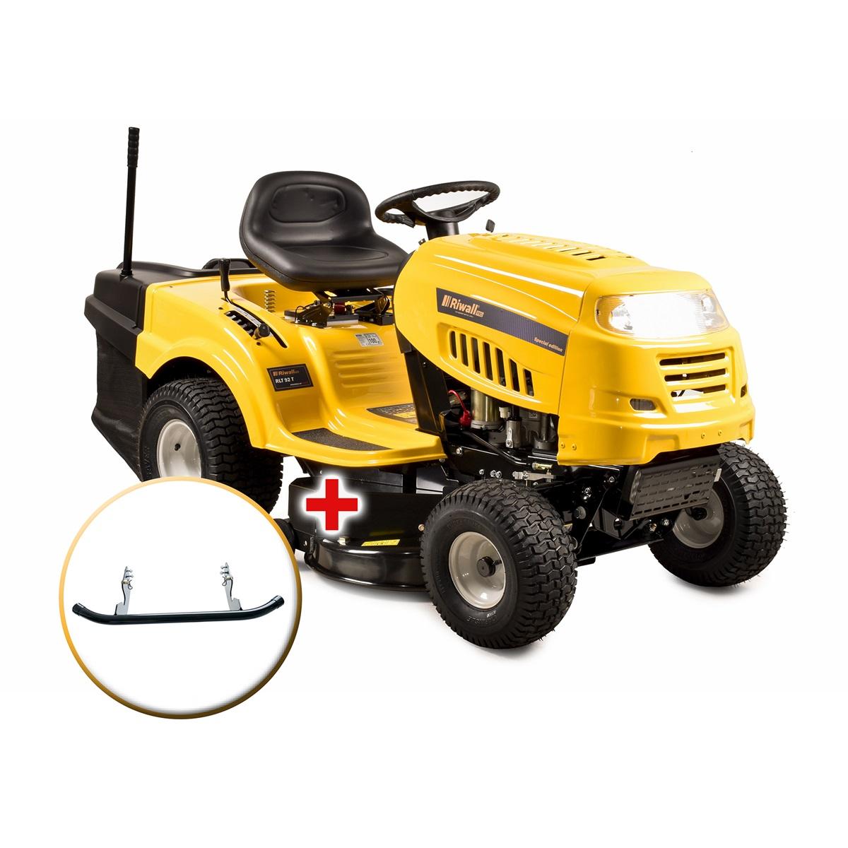 travní traktor se zadním výhozem a 6-ti stupňovou převodovkou Transmatic + nárazník Riwall PRO RLT 92 T