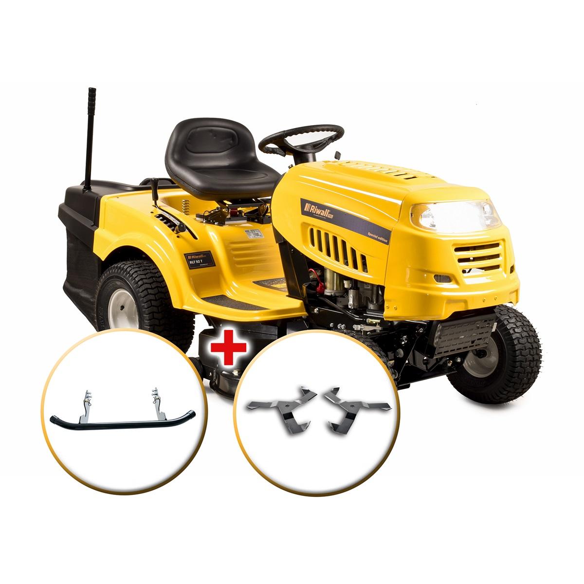 travní traktor se zadním výhozem a 6-ti stupňovou převodovkou Transmatic + nárazník Riwall PRO RLT 92 T POWER KIT