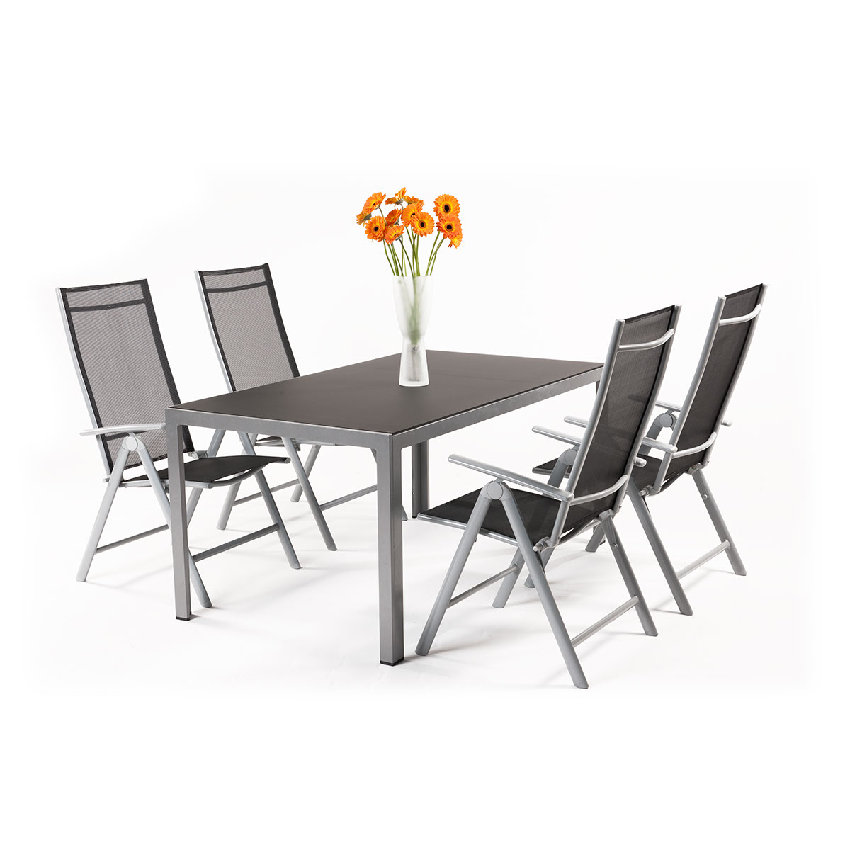 sestava nábytku z hliníku (1x stůl Frankie + 4x pol. křeslo Raul Basic) Garland Remus 4+