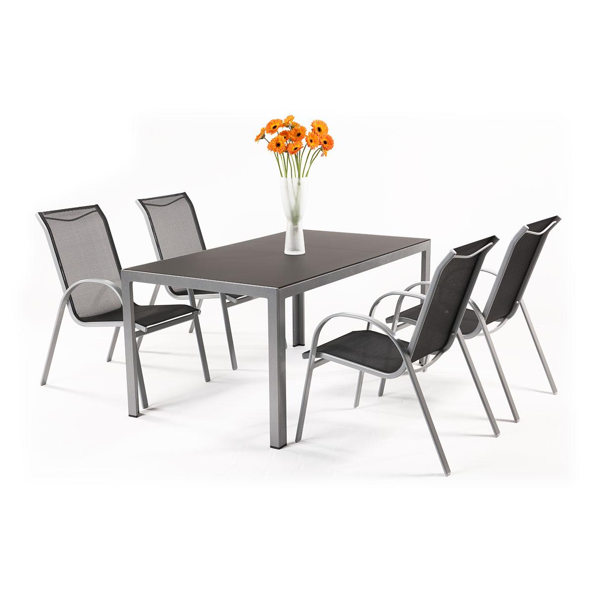 sestava nábytku z hliníku (1x stůl Frankie + 4x židle Vera Basic) Garland Vergio 4+