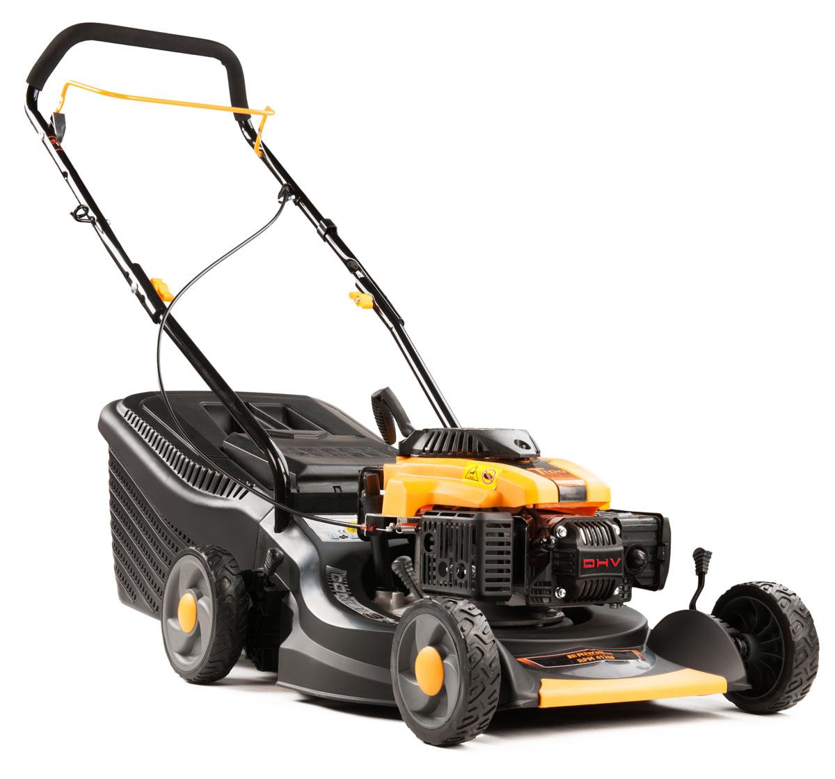 multifunkčna trávna kosačka 3 v 1 s benzínovým motorom bez pojazdu Riwall PRO RPM 4120 P