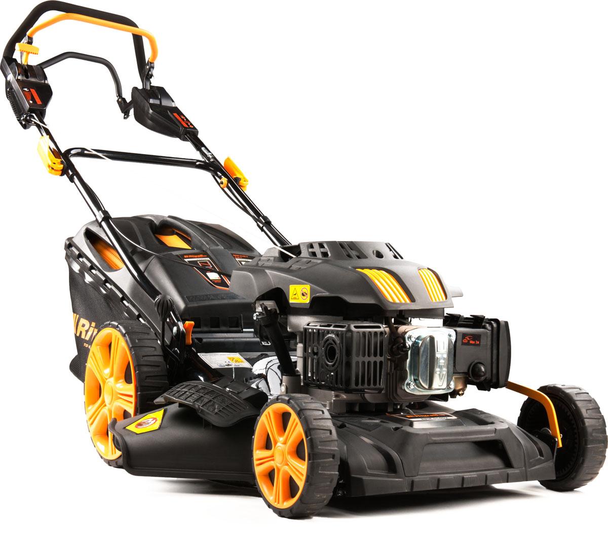 multifunkčna trávna kosačka 4 v 1 s benzínovým motorom a variabilným pojazdom Riwall PRO RPM 5140 V