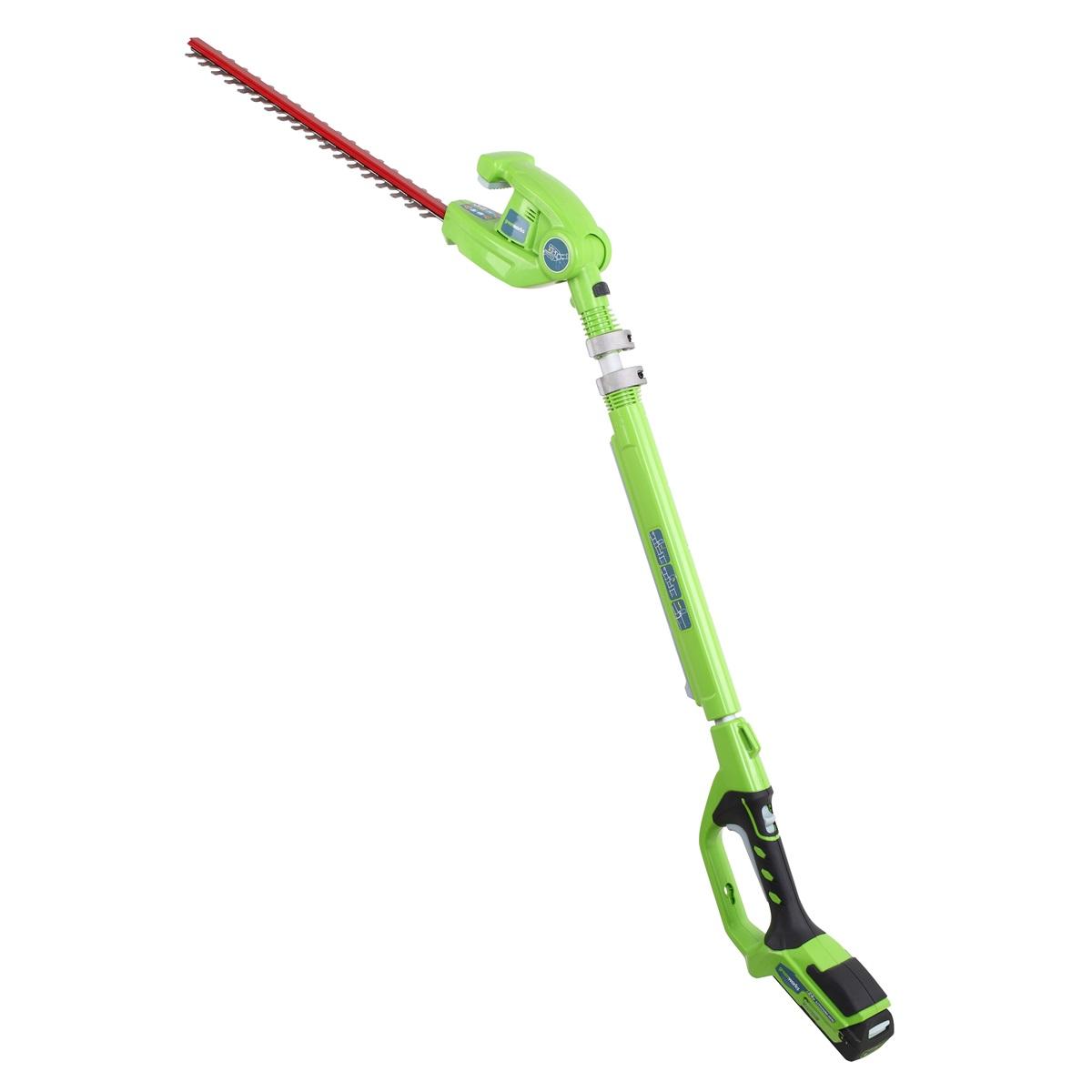 Greenworks G24PH51, plotostrih dlouhým dosahem a aku motorem 24 V