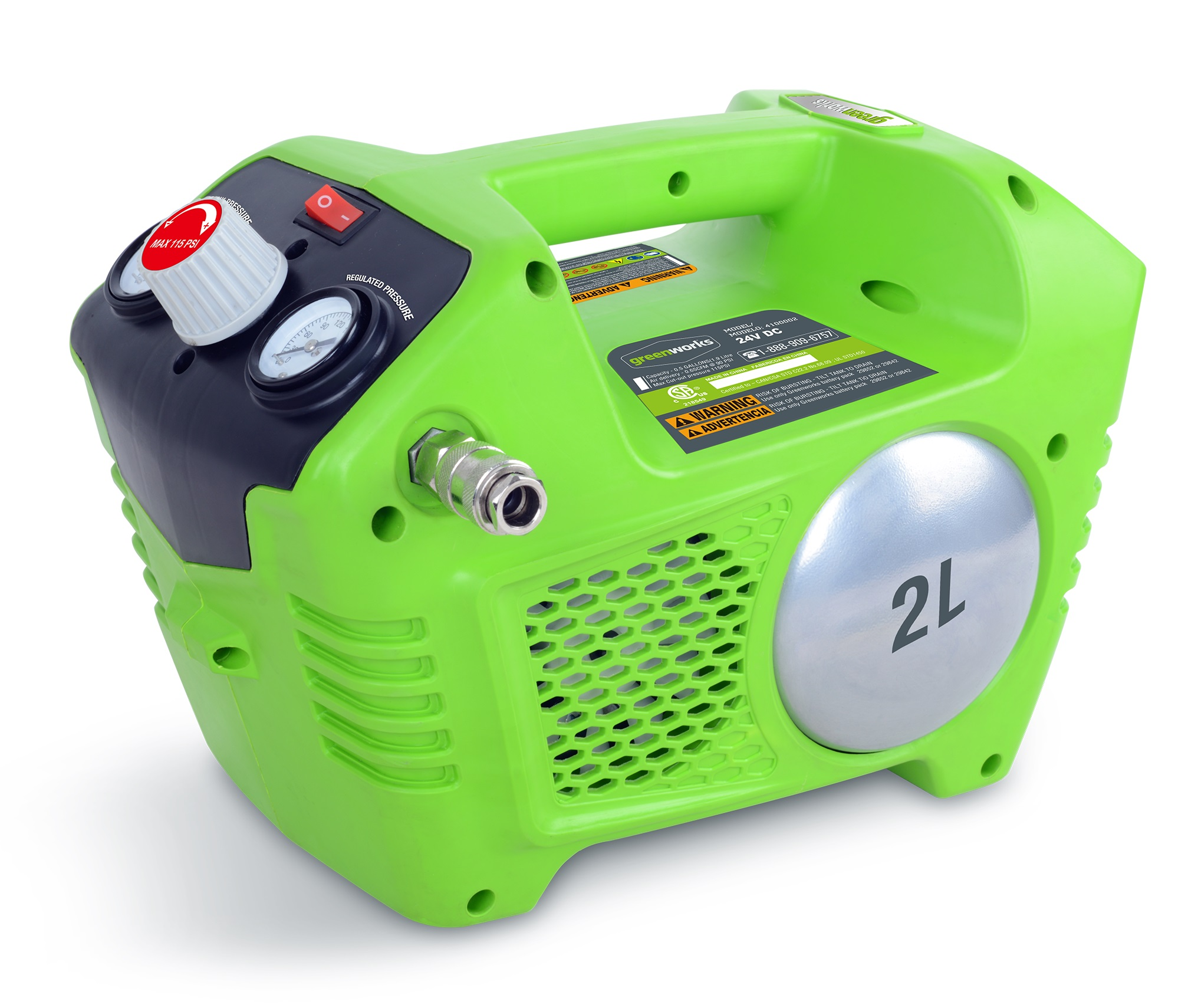Greenworks G40AC, aku 40 V bezolejový kompresor
