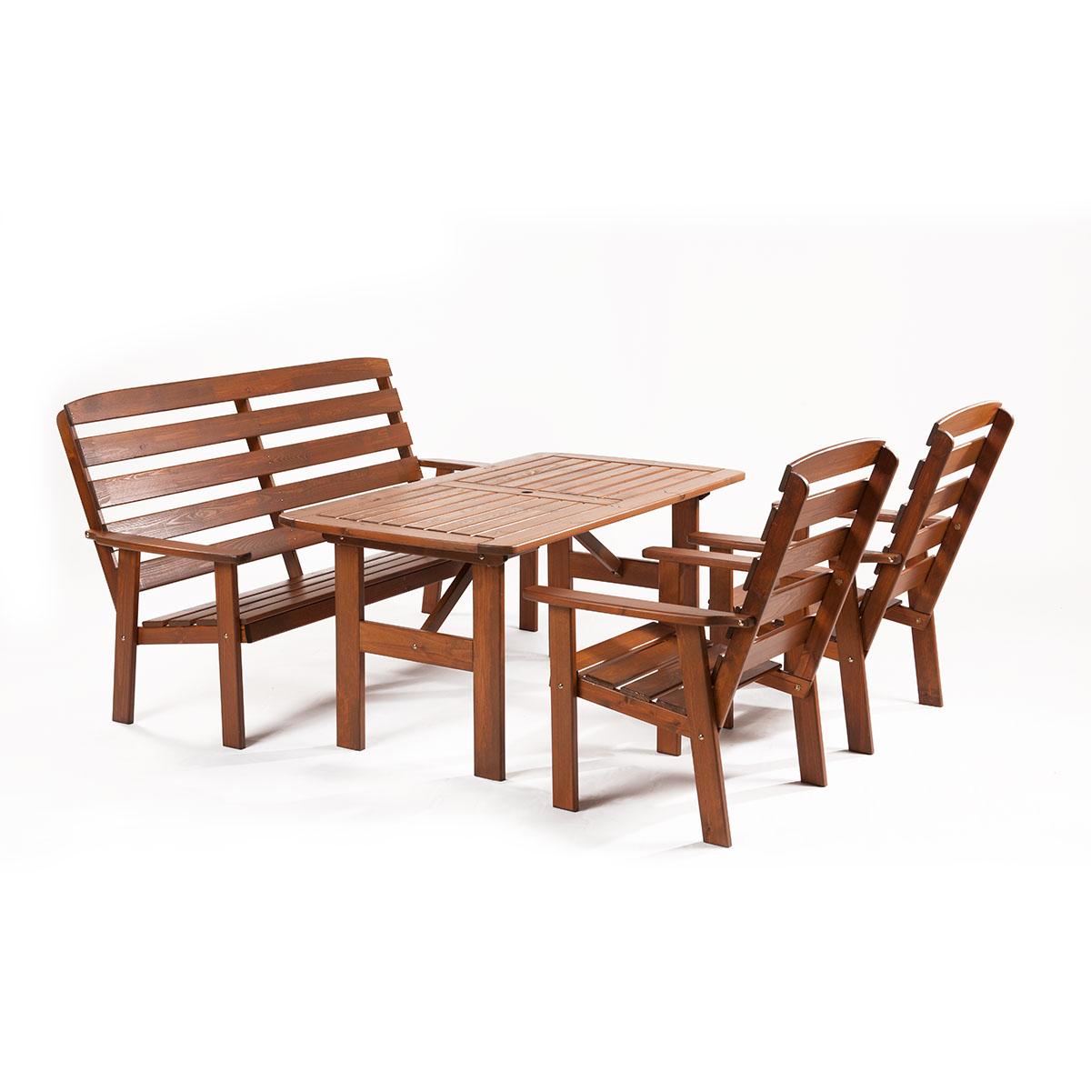 Garland Viken, sestava nábytku z borovice (2x křeslo, 1x lavice, 1x stůl)