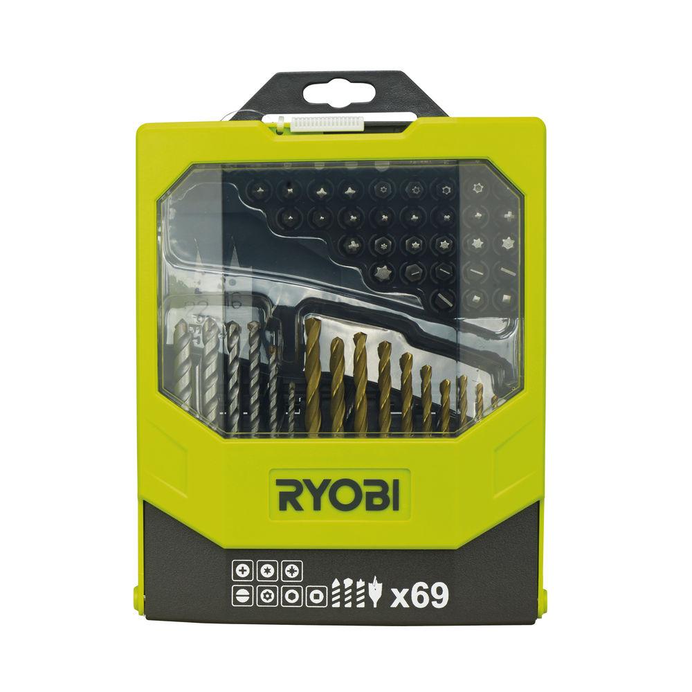 Ryobi RAK 69 MIX, 69 ks sada vrtákov a šrobovacích bitov