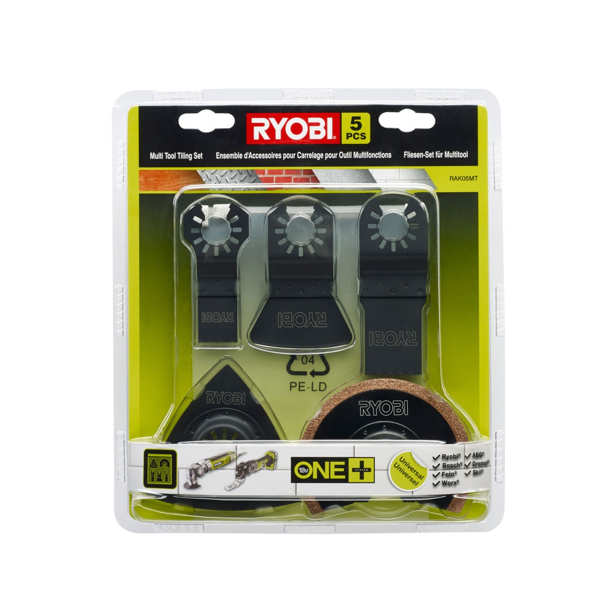Ryobi RAK05MT, 5ti dílná sada příslušenství k multifunknímu nářadí