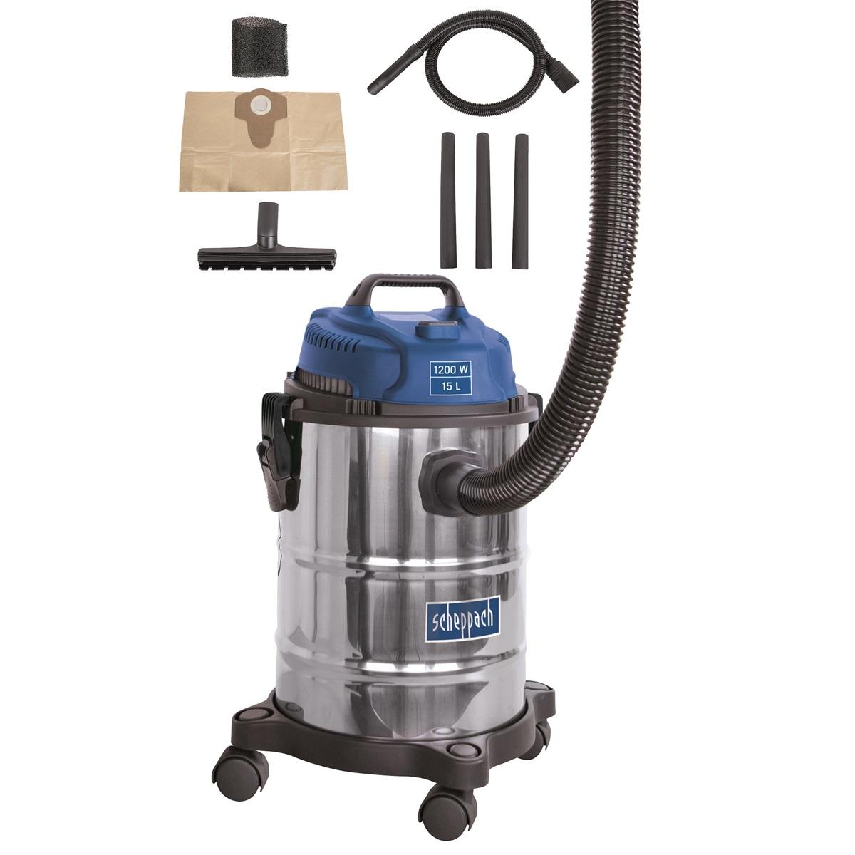 Scheppach ASP 15 ES, vysávač na mokré / suché vysávanie