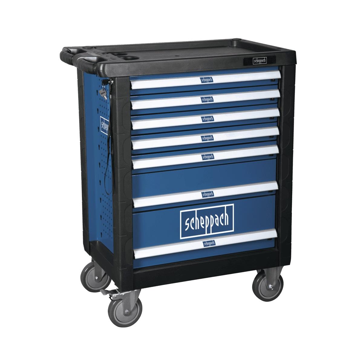 Scheppach TW 1000, dílenský vozík s nářadím, 7 zásuvek, 263 dílů