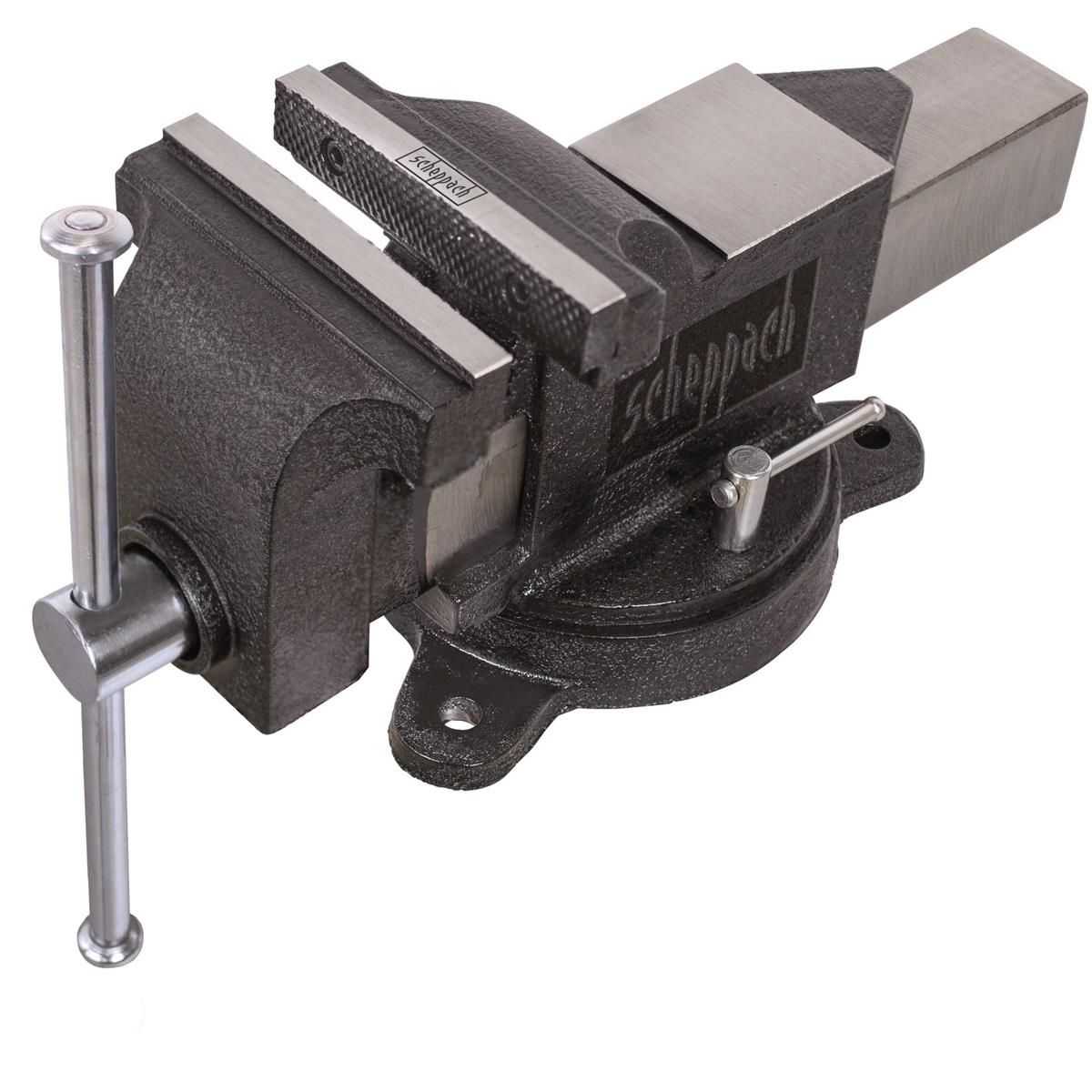 Scheppach V 125 P, svěrák průmyslový s otočnou deskou a kovadlinou 125 mm