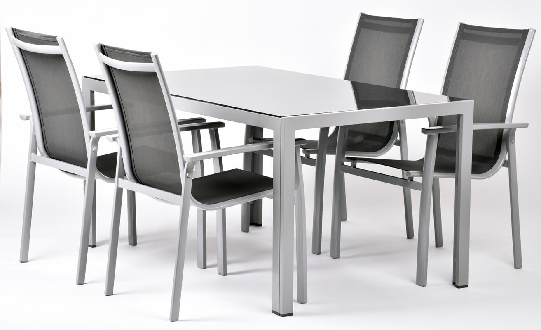 Creador Aurelia 4+, sestava nábytku z hliníku (1x stůl Ryan + 4x stoh. židle Valentina Comfort)