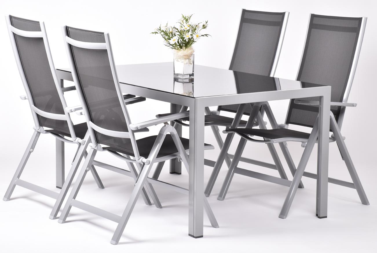 Creador Avalis 4+, sestava nábytku z hliníku (1x stůl Ryan + 4x pol. křeslo Evan Comfort)
