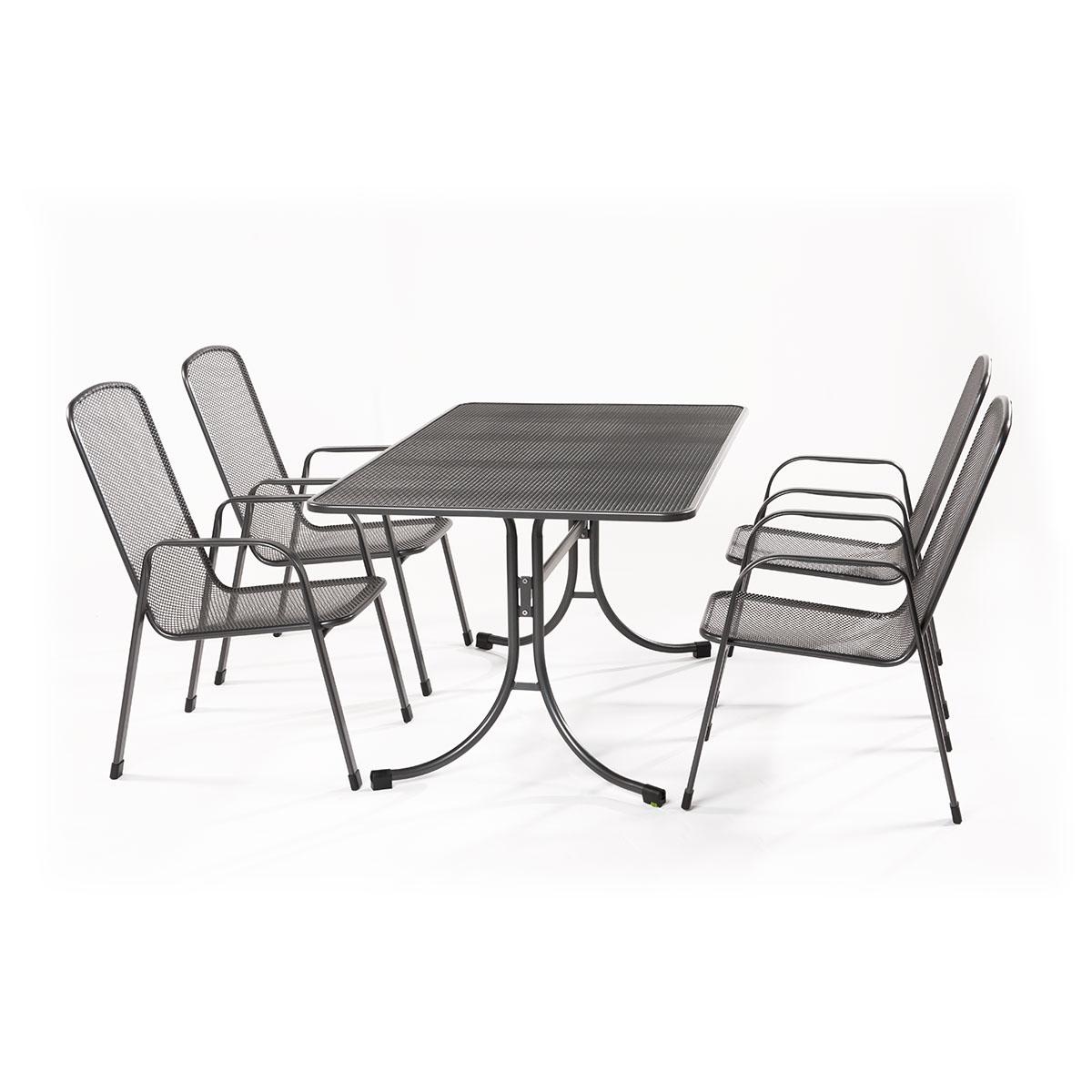 MWH Bani 4+, sestava nábytku z tahokovu (4x židle Savoy Basic, 1x stůl Universal 145)