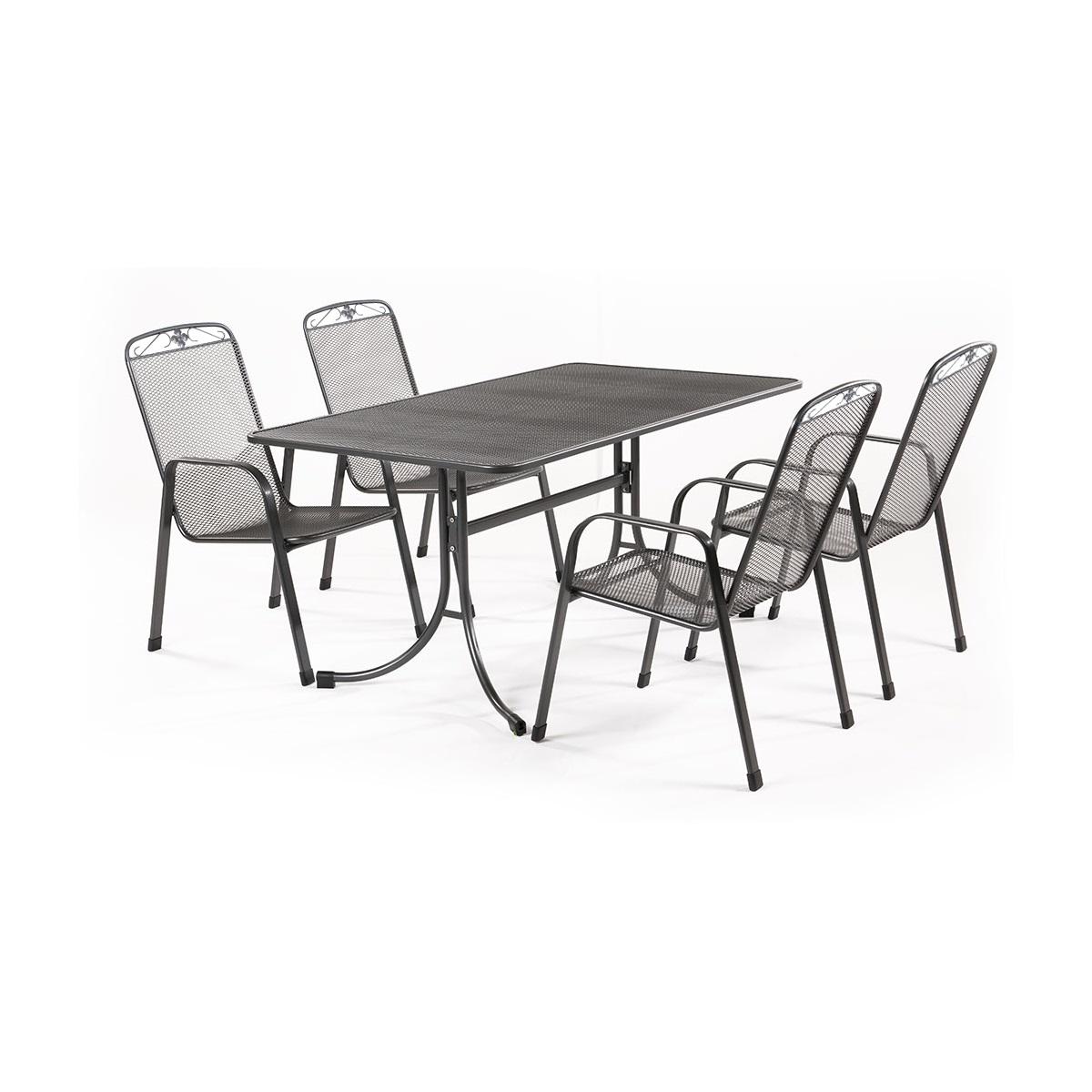 MWH Banis 4+, sestava nábytku z tahokovu (4x židle Savoy, 1x stůl Universal 145)