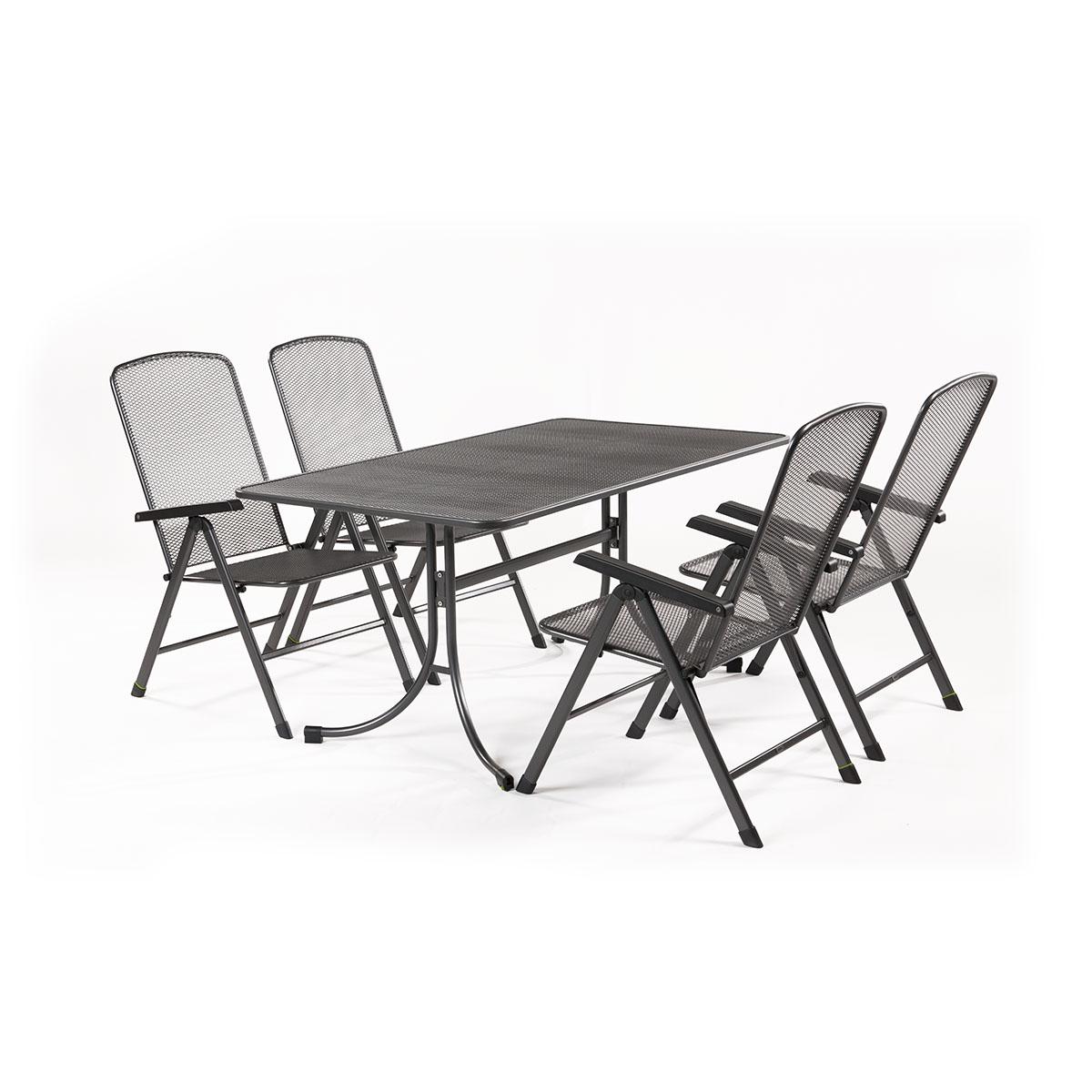 MWH Basani 4+, sestava nábytku z tahokovu (4x pol. křeslo Savoy Basic, 1x stůl Universal 160)