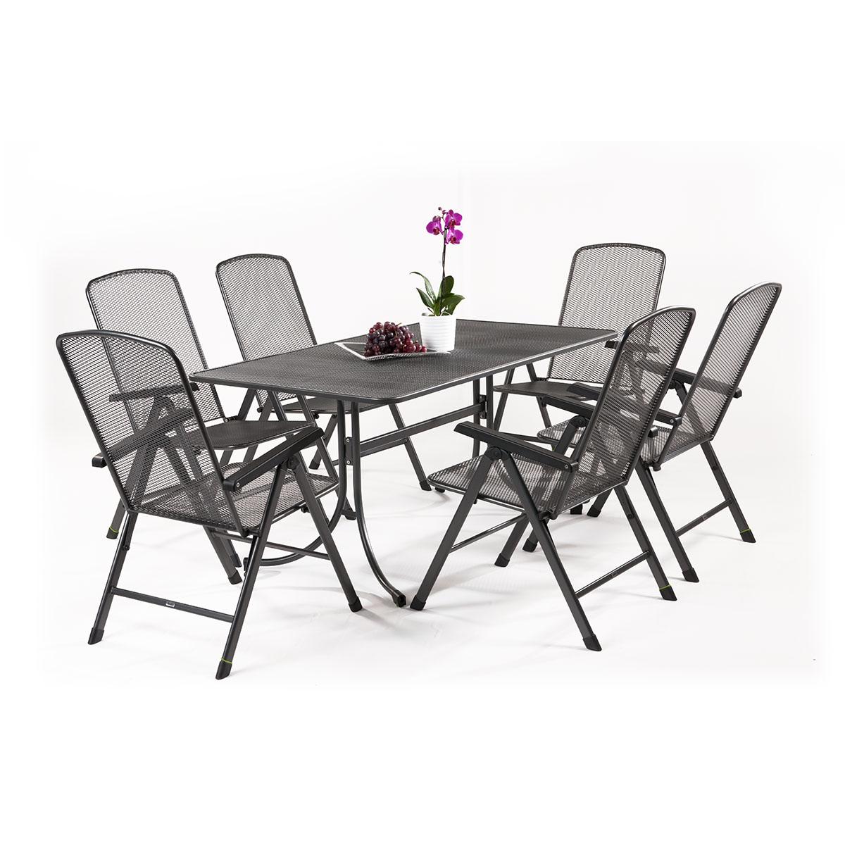 MWH Basani 6+, sestava nábytku z tahokovu (6x pol. křeslo Savoy Basic, 1x stůl Universal 160)