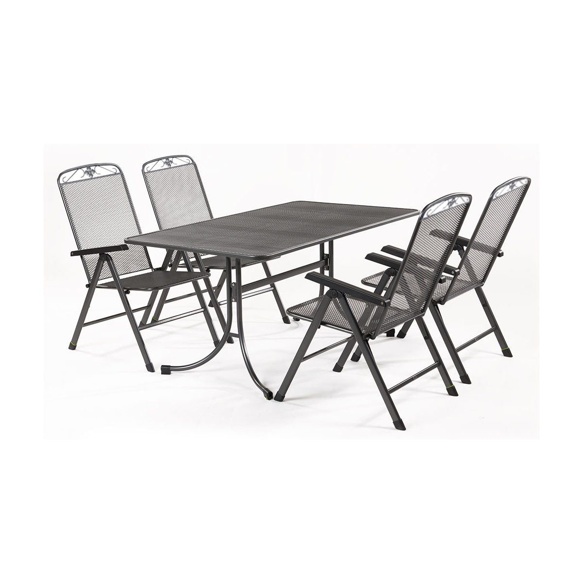 MWH Basanis 4+, sestava nábytku z tahokovu (4x pol. křeslo Savoy, 1x stůl Universal 160)