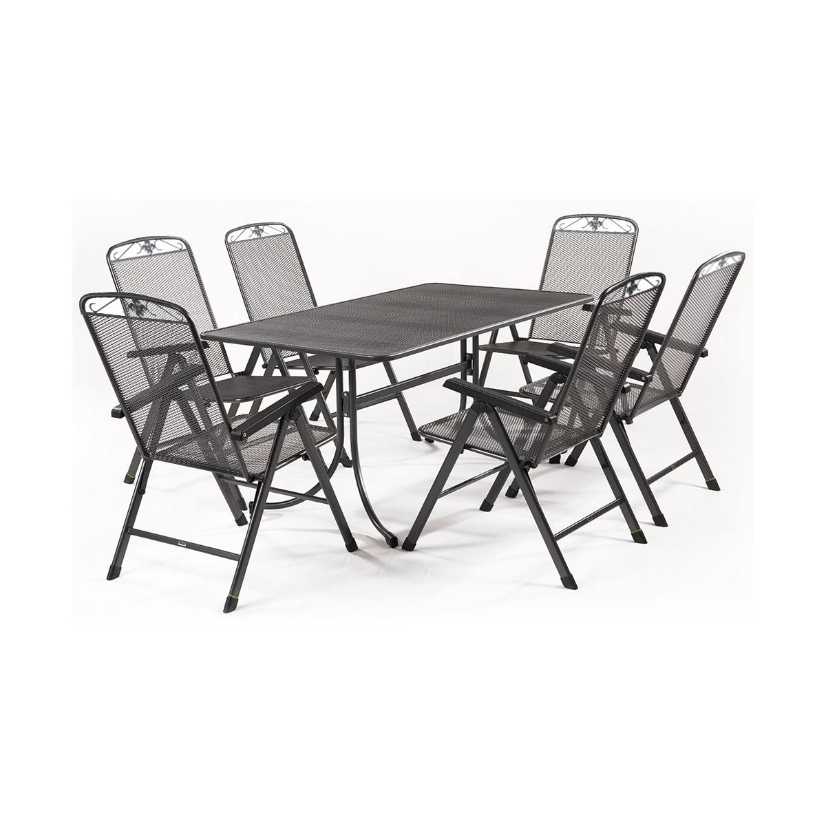 MWH Basanis 6+, sestava nábytku z tahokovu (6x pol. křeslo Savoy, 1x stůl Universal 160)