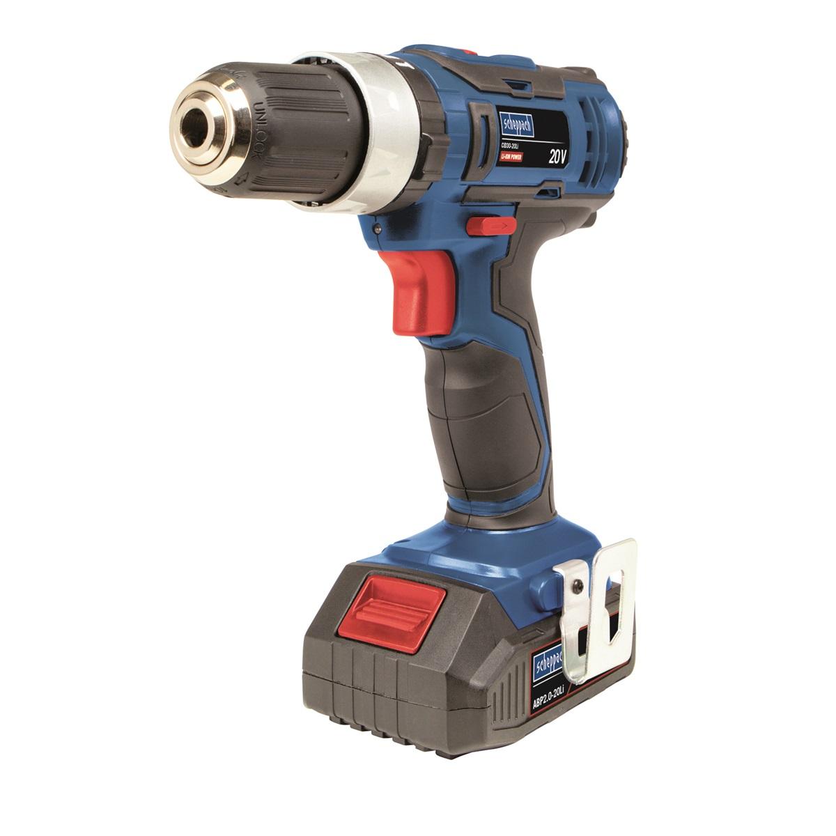 Scheppach CID30-20Li, aku 20V dvourychlostní vrtací šroubovák s příklepem + 2x baterie 1,5 Ah + nabíječka + kufr