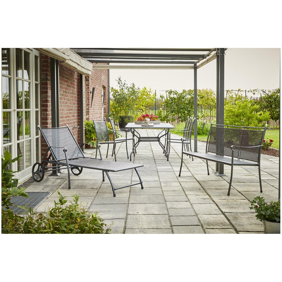 Royal Garden Excelsior Set, sestava nábytku (1x stůl Royal Verso + 4x stoh. židle Excelsior + 1x lehátko Excelsior)