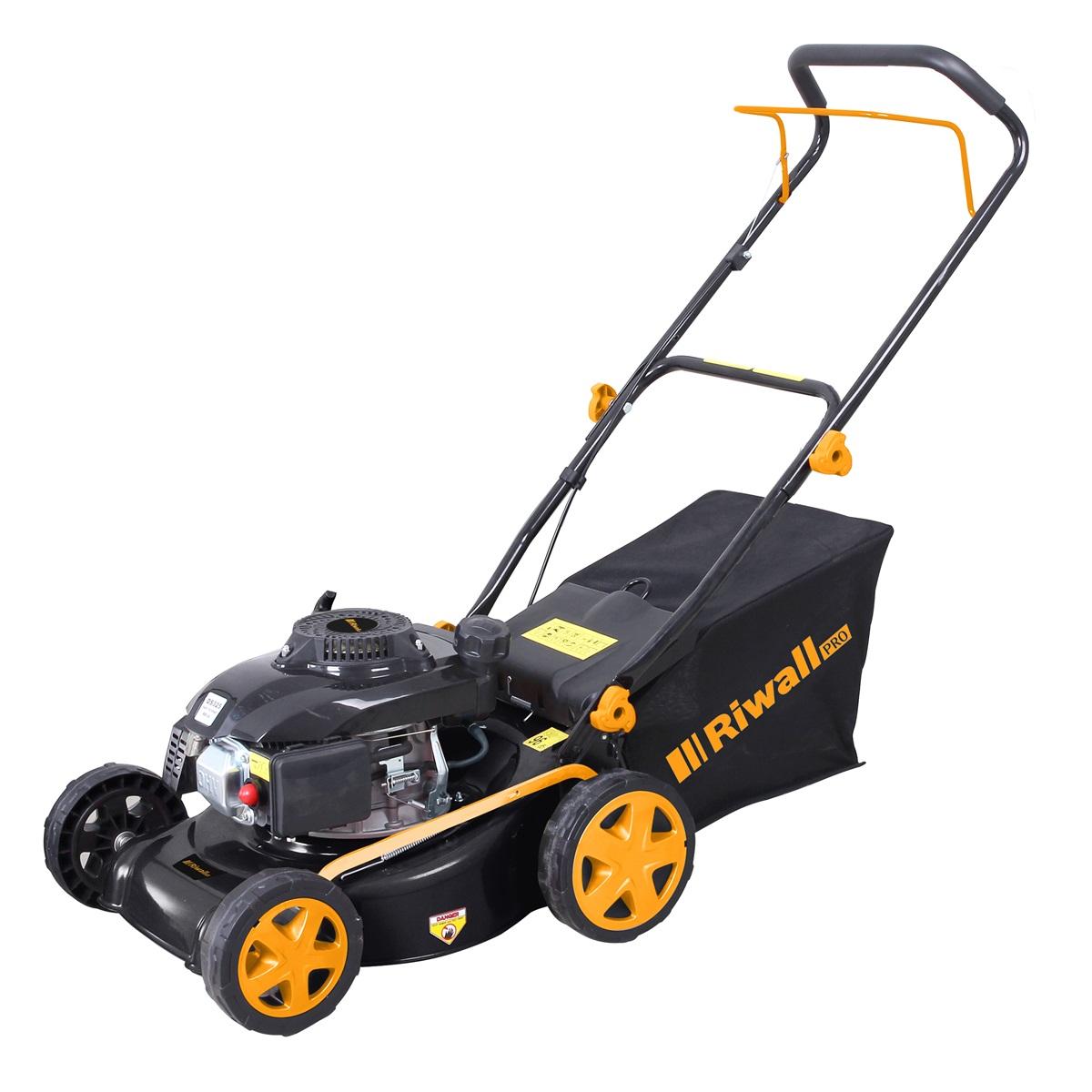 Riwall PRO RPM 4218 P, multifunkčna trávna kosačka 2 v 1 s benzínovým motorom bez pojazdu