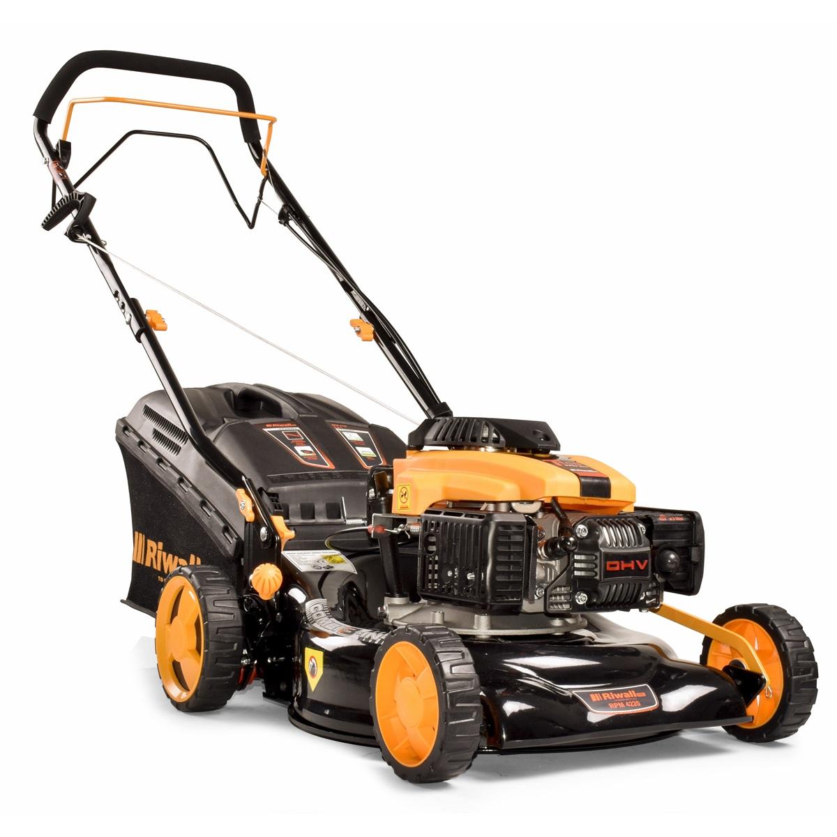 Riwall PRO RPM 4220, multifunkčna trávna kosačka 3 v 1 s benzínovým motorom a pojazdom