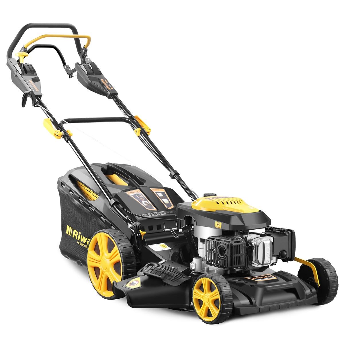 Riwall PRO RPM 5140 V, multifunkčna trávna kosačka 4 v 1 s benzínovým motorom a variabilným pojazdom