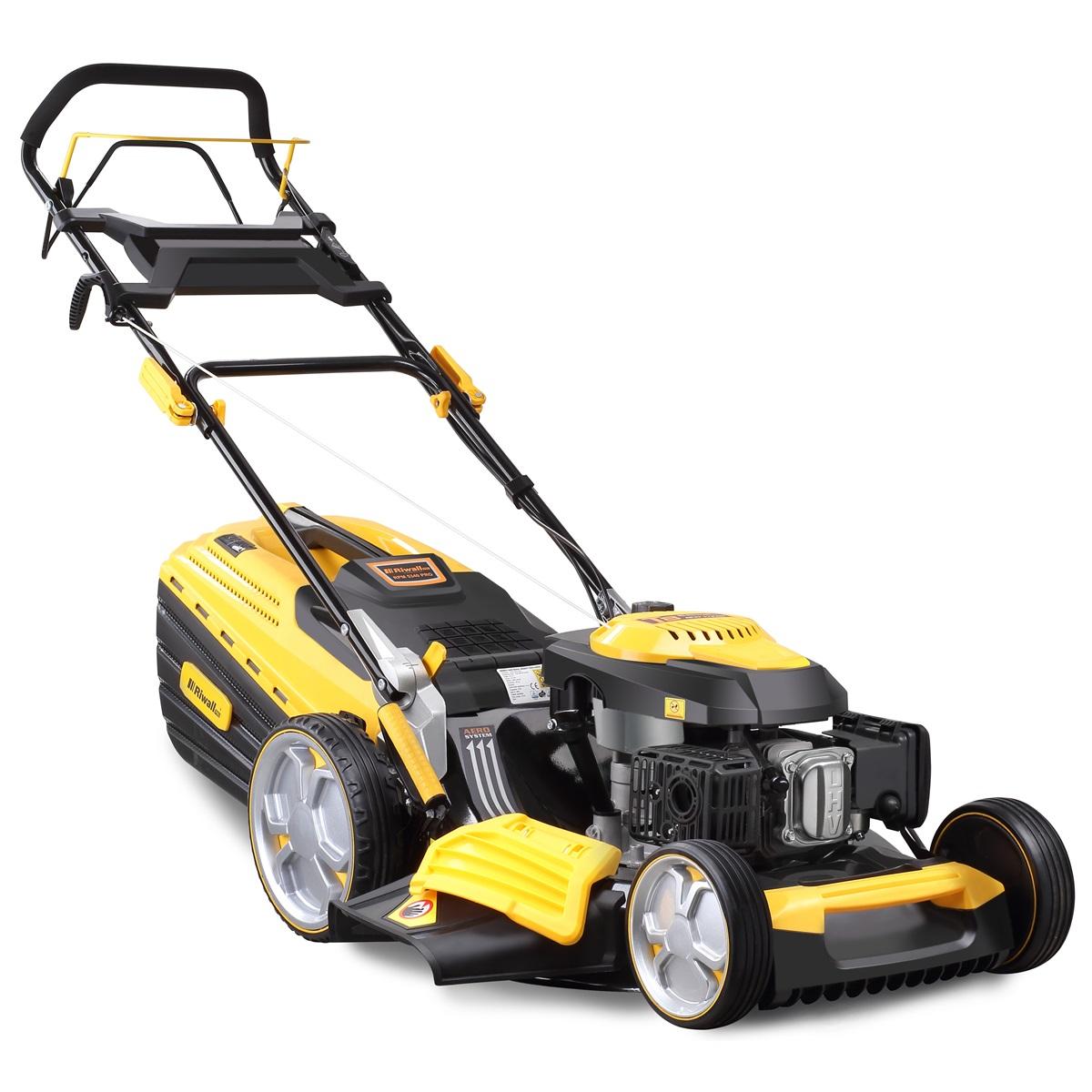 Riwall PRO RPM 5340 Pro, multifunkčna trávna kosačka 4 v 1 s benzínovým motorom a pojazdom