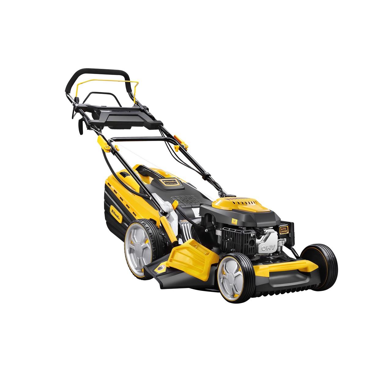 Riwall PRO RPM 4835 E Pro, multifunkčna trávna kosačka 4 v 1 s benzínovým motorom, pojazdom a elektroštartom