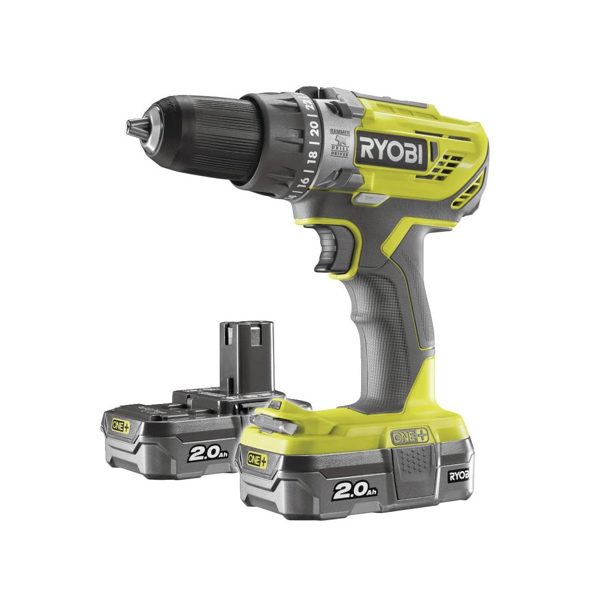 Ryobi R18PD3-220S, aku 18 V vrtačka + 2x baterie 2 Ah + nabíječka ONE+