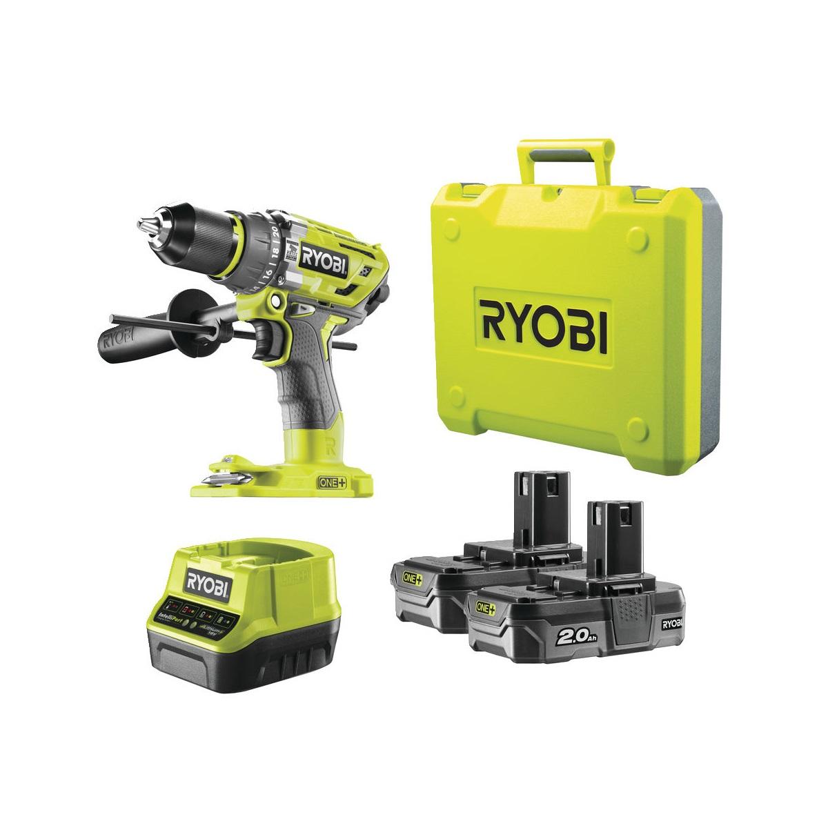 Ryobi R18PD7-220B, aku 18 V bezuhlíková příklepová vrtačka + 2x 2Ah baterie + nabíječka ONE+