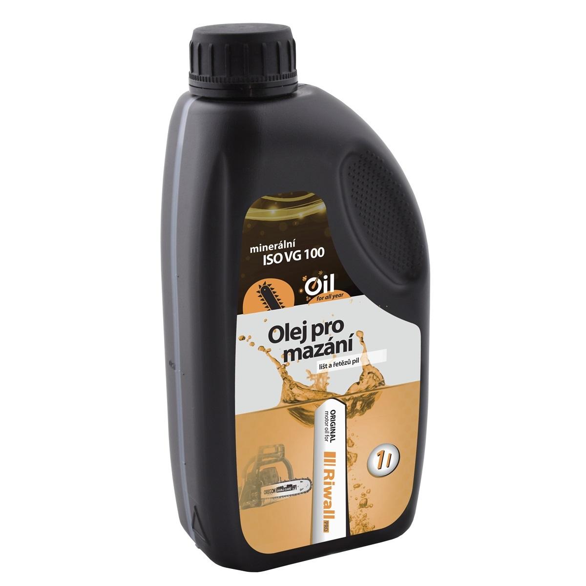 Minerální olej Riwall pro mazání řetězů a lišt (1 l)