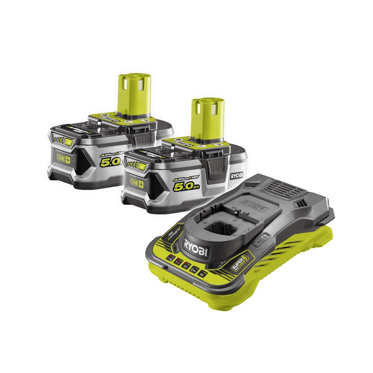 Ryobi RC18150-250, sada 2x 18 V lithium iontová baterie 5 Ah s rychlonabíječkou RC18150 ONE+
