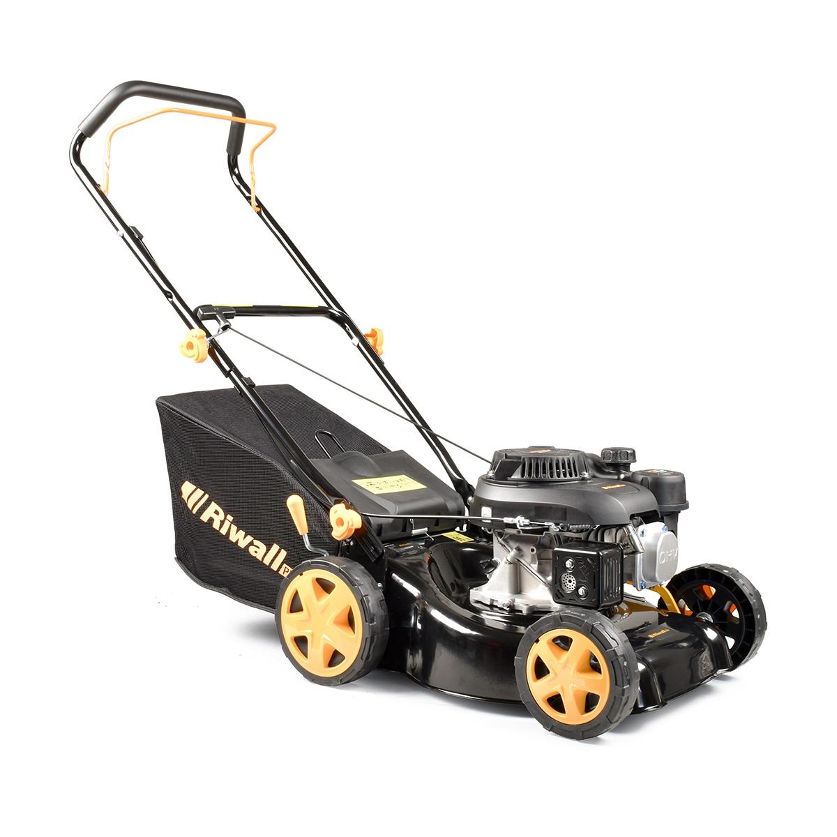 Riwall PRO RPM 4234 P, multifunkčna trávna kosačka 2 v 1 s benzínovým motorom bez pojazdu