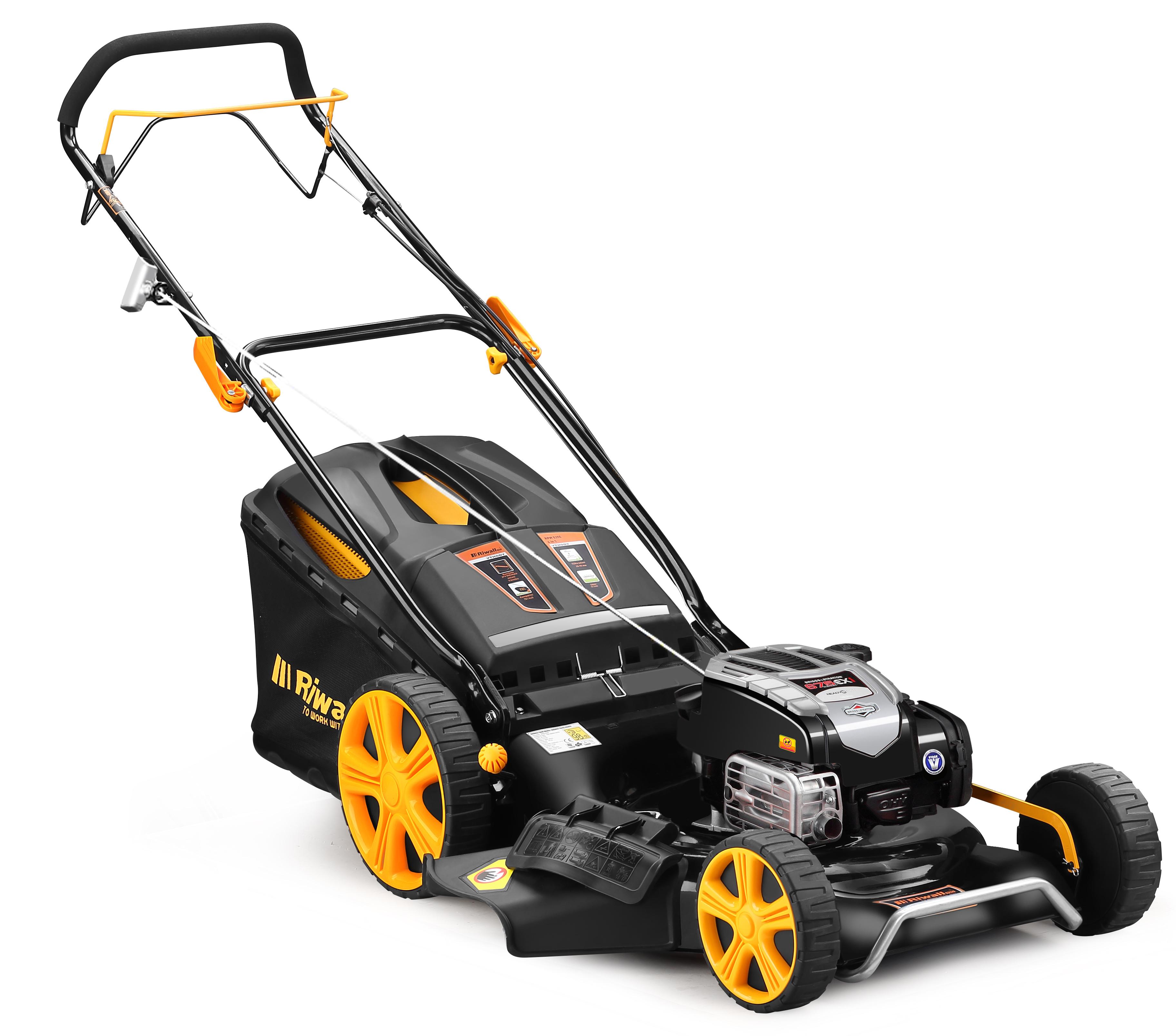 Riwall PRO RPM 5339 B, multifunkční travní sekačka 4 v 1 s benzinovým motorem a pojezdem