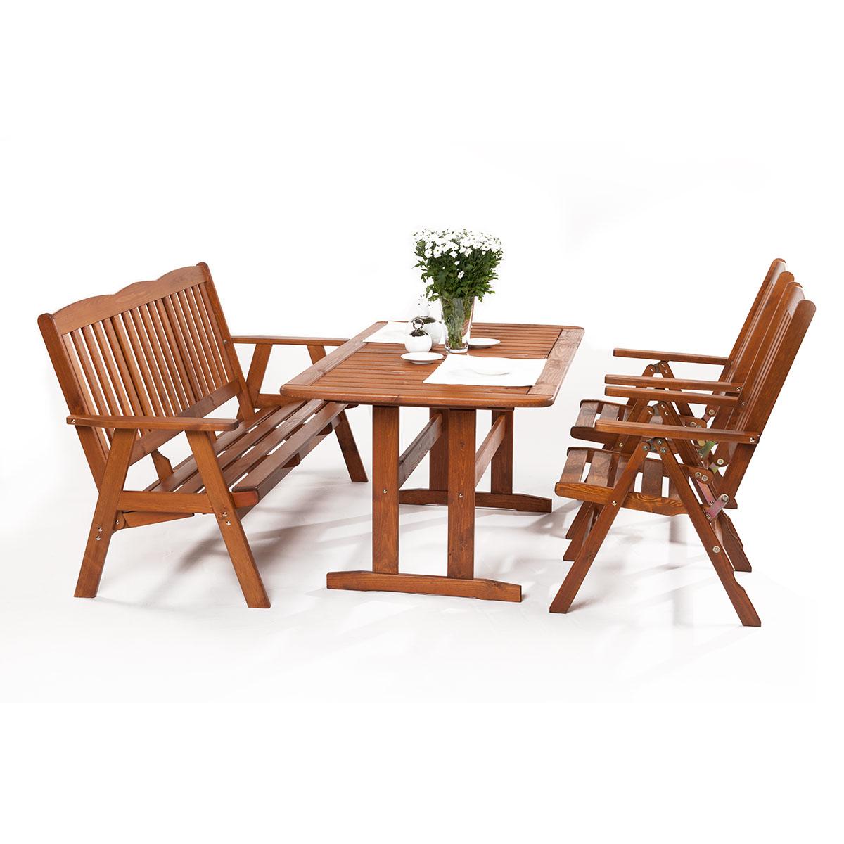 Garland Sven 2+3+, sestava nábytku z borovice (2x pol. křeslo, 1x třímístná lavice, 1x stůl)