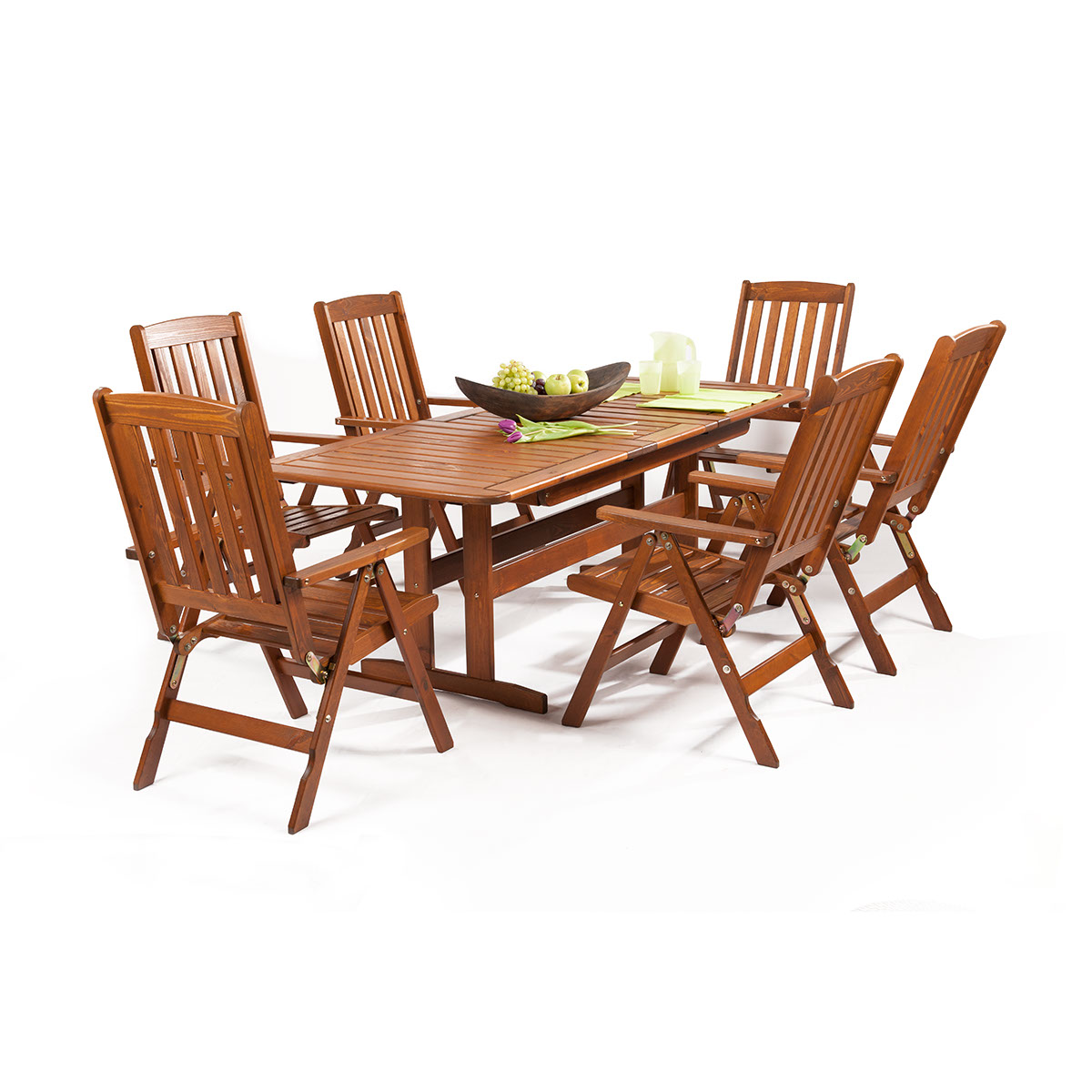 Garland Sven 6+, sestava nábytku z borovice (6x pol. křeslo Oliver, 1x rozkládací stůl Skeppsvik)