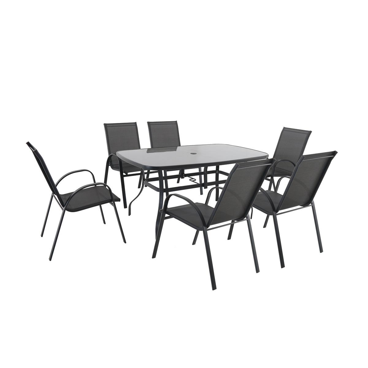 Creador Verona 6+, sestava nábytku z kovu (6x židle + 1x stůl)